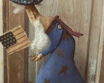Primitive Uncle Sam  Patriotic Americana Usa Cloth doll  4th of July