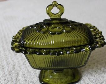 Vintage Olive Green Candy Serving Dish