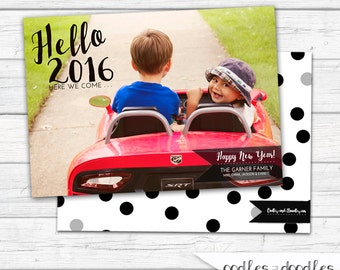 New Year's Photo Card, 2017 Photo Card, Printable Christmas Card, Holiday Photo Card, Black and White, Polka Dots, Printable, Personalized
