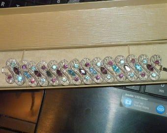Signed DODDS Bracelet, Elegant Silver Bracelet, Ice Blue Mesmerizing Wave of Purple and Topaz Blue Statement Bracelet, Wedding Bracelet,