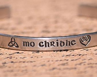 Mo Chridhe - My Heart - Scottish Gaelic Aluminum Bracelet Cuff - Hand Stamped