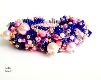 Womens bracelet, beadwork jewellery, blue, pink, purple glass bead bracelet, boho beaded bracelet