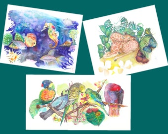 set of 3 cards tropics + envelopes