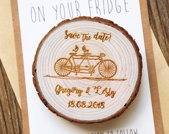 Custom Bicycle Wood Save the date Magnets, rustic wedding favors, Rustic wedding Magnets,Rustic Wedding Magnet