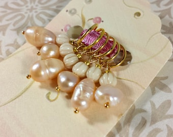 KNITTING Stitch Markers - Golden Pearls Knitting Markers - Gift for Knitters or Fiber Artists - Knitting Notions - Knitting Accessories