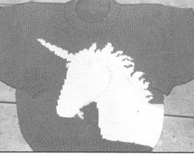 eweCanknit pattern 040: The Unicorn knitting pattern for kids sizes 4-8 uses worsted weight yarn