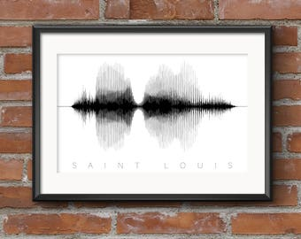 St Louis Word Art Print: Waveform // St Louis Sound Wave | St Louis Sound Art | St Louis Word Art // Free Shipping
