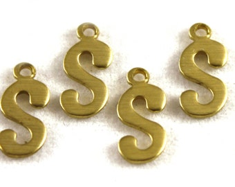"""5x Letter """"S"""" Brass Initial Charms - M071-S"""