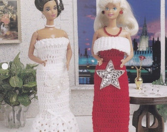 Simply Stunning Gowns, Annie's Fashion Doll Clothes Crochet Club Pattern Leaflet FC44-03
