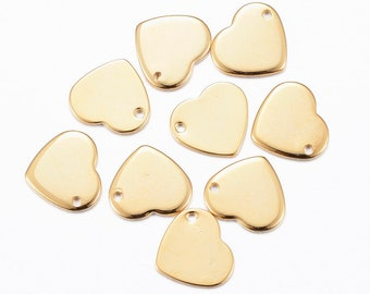 10 charms in heart shape stainless steel gold plated 11 mm