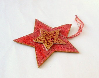 Large felted country star ornament rustic embroidery xmas