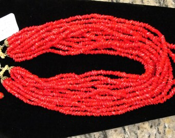 Art Deco Bohemian Red Glass Beaded Necklace