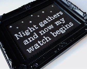 Game Of Thrones | Nights Watch | Framed | Cross Stitch | Completed | Home | Geek | Fan