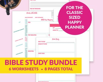Happy Planner Bible Study Bundle - Journal - Bible Verse Mapping - Prayer Journal - Bible Reference Pages - Scripture Studies - Printable