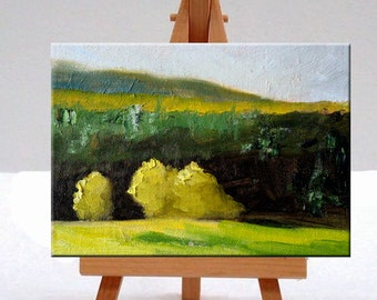 Semi Abstract, Landscape, Oil Painting, Original, Small 5x7, Canvas, Yellow Trees, Green, Hills, Textured, Miniature, Wall Decor