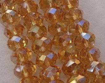 8inch-Gold Topaz Quartz Glass Faceted Rondelle Beads...10mmx7mm.