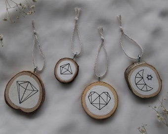 Geometric Painted Wood Ornament Set