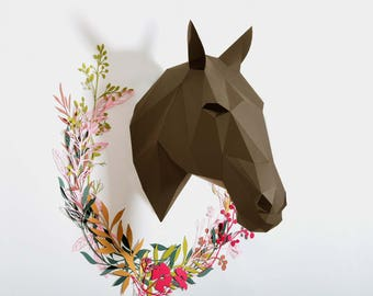 Horse head PDF template   Make your own   Horses decor   Printables   Low poly horse trophy   DIY gift   Equestrian Wall art   Digital file