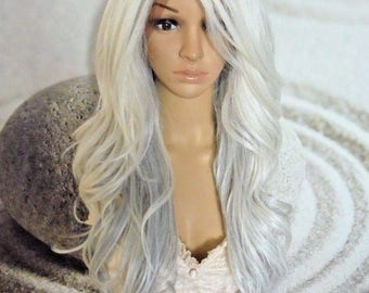 White silver gray lace front wig .