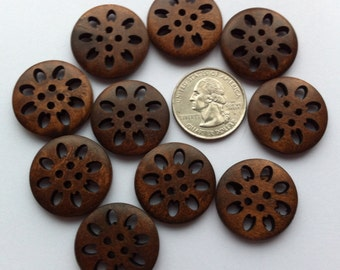 "10 Wood Buttons 25mm Large Wooden button 1"" inch Coffee Dark Brown Hollow Flower Sewing Notions Embellishments Crafting Scrapbooking Supply"