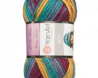 Sectional multicolor yarn INCA YARNART, Wool and acrylic thick yarn, gradient yarn, lot yarn