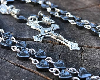 Handmade Catholic Rosary. Hematite Heart Beads. Rosary Beads, Prayer Beads, Rosary Necklace. Heart Rosary. Traditional Rosary. Hearts Rosary