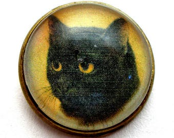 "Black CAT  button, Domed studio glass button. 3/4"", 22mm. handmade. Vintage style."
