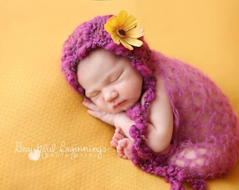 Spring Girl Newborn Knit Photo Shoot Prop Hand Knit Baby Bonnet Fall Infant Hat Fuchsia Cosmos Flower Cap Organic Going Coming Home Outfit