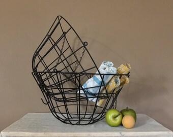 """Set of 2 Large 20"""" Vintage Metal Baskets / Metal Hanging Baskets /  Vintage Baskets / Planter Baskets / Metal Light Shade / Metal Lamp Shade"""