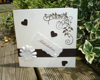 Ivory and Brown wedding congratulations card