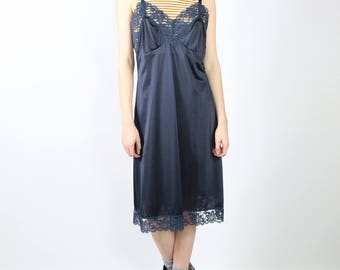 Midnight Blue Slip Dress with Lace Detail - 90s Grunge