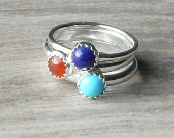 Sterling silver ring turquoise, lapis lazuli, carnelian • Silver stacking rings with stone • Gemstone stacking rings set