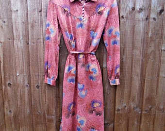 Vintage Dress - Knee Length - 1980's Vintage - Winter - Long Sleeved Dress