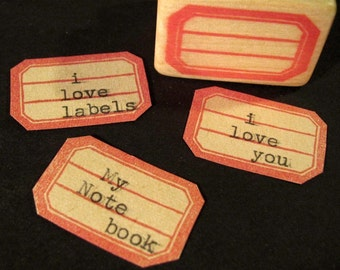 Hand Carved Rubber Stamp, Red Mini Label