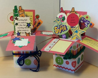 Teacher Appreciation and Thanks Exploding Pop Up Box Cards.  Free Shipping in USA