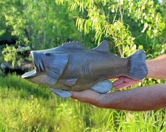 Cremation Urn, Artistic Ceramic Fish Sculpture- Large Bass Fish Trophy for Fisherman - Personalized Decorative Funeral Urns for Human Ashes