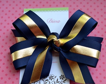Navy with Golden Stripe Classic Diva Bow