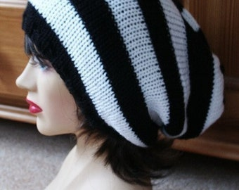 Large Slouchy Beanie, Mens Slouch Hat, Womens Slouch Hat, Black and White, Dread Hat, Oversized Hat, Knit Hat, Fall Hat, Winter Accessory,
