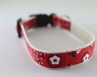 Hemp Dog Collar - Red Bandana - 3/4in