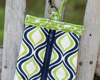 Navy and Lime Green Zipper Pouch or Small Make Up Bag