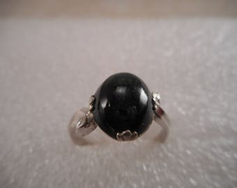 Vintage Clark & Coombs Art Deco Sterling Silver Ring with Oval Green Goldstone Size 8