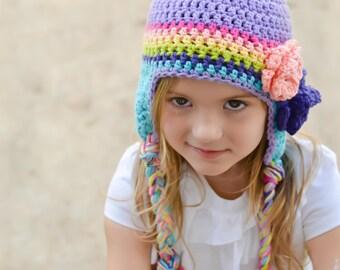 girls winter hat, rainbow hat,  girls hat, little girls hat, crochet girl hat, baby girl hat, kids hat, crochet kids hat, hat for girls