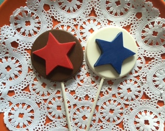 STAR Chocolate Lollipops(12 qty)  Star Party Favor/Memorial Day Favor/Holiday/4th of July/Star Students/Party Favor/4th of July Party Favor