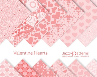 Valentine digital papers in shades of pink DP025 instant download