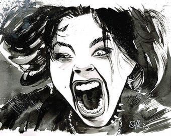 THE CRAFT - Nancy Downs (Fairuza Balk) portrait original ink drawing Witch