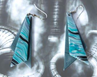 Triangle statement earrings, modern earrings, blue dangle earrings, contemporary jewelry, geometric earrings, polymer clay, eco friendly