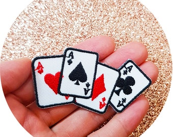 4 Decks Classic Poker Playing Cards Magic Trick Iron On Embroidered Patch