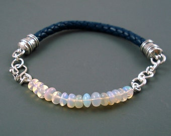 Opal Bracelet, Blue Leather and Clear Base Opal Bracelet with Sterling Silver Caps and Clasp ON SALE was 99.00