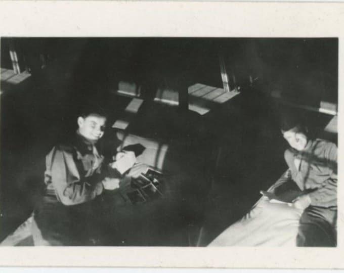 Soldiers in Barracks, c1940s: Vintage Snapshot Mini Photo (78598)