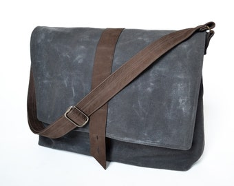 Waxed Canvas Bag Man, Mens Messenger Laptop Bag, Crossbody Wax Professional Satchel, Guys Commuter Work Bag - The Sloane in Charcoal Grey